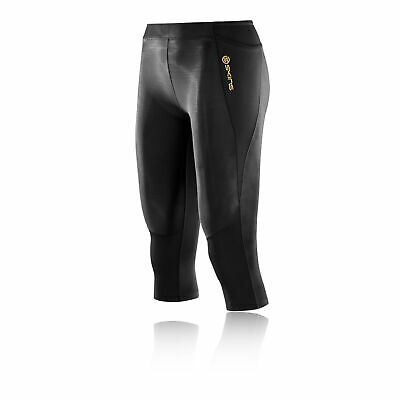 Skins Womens A400 Compression Capri Pants Bottoms Tights Trousers Black Sports