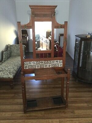 Antique Hall Stand Large Early With Hand Made Tiles Excellent Original Condition