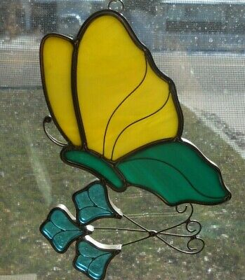 Stained Glass Suncatcher Window Wall Hanging Butterfly Over Flowers Ornament