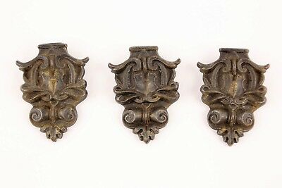 3 Antique Vintage Cast Iron Metal Curtain Drapery Rod Ornaments Ornate Old