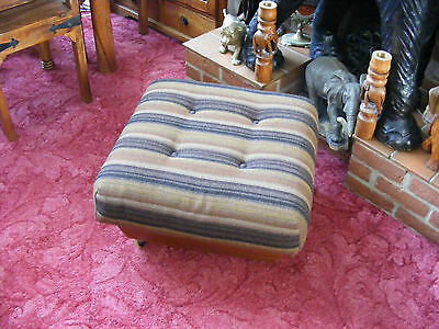 Vintage Retro Ottoman Footstool Foot Stool Seat Sewing Storage Box on Wheels