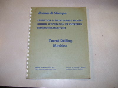 Brown & Sharpe Oper. & Maintenance Turret Drilling Mach