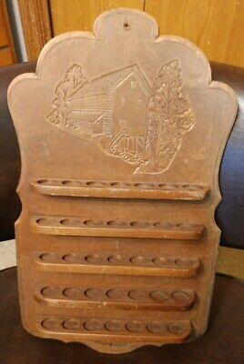 Antique Wood Thimble Rack Carved Wall Shelf Display Case for 35 Thimbles