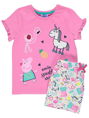 Peppa Pig Girls Pink Unicorn T-Shirt and Shorts Outfit BNWT