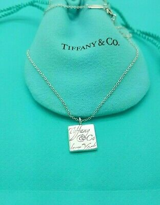 """Tiffany & Co RARE New York Sterling Silver Notes Square Pendant 16"""" Necklace"""