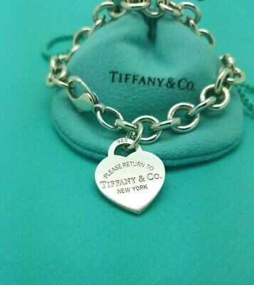 "Return To Tiffany & Co Sterling Silver Heart Tag Bracelet 7.5"" RRP £320"