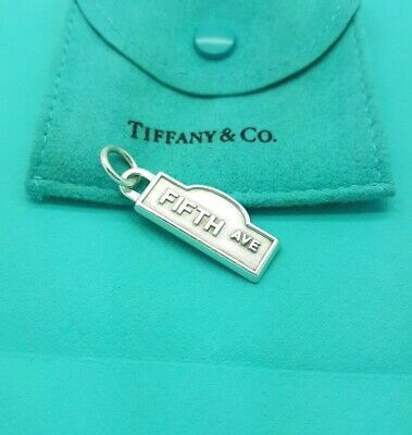 Tiffany & Co Sterling Silver Fifth Ave Note Tag Charm Pendant ONLY
