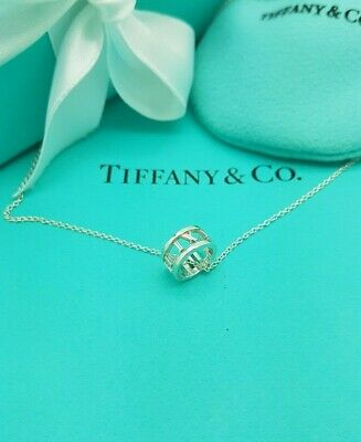 """Tiffany & Co Sterling Silver Atlas Open Circle Pendant 16"""" Necklace"""