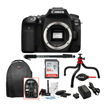 Canon EOS 90D DSLR Camera Body with Advanced Care and Travel Accessory Bundle