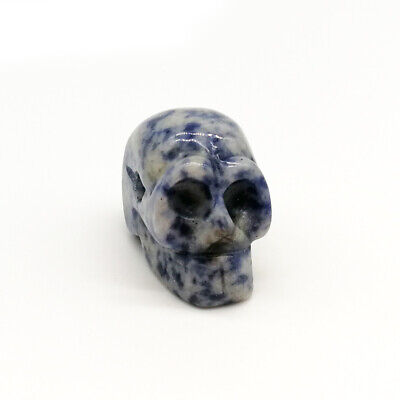 Blue Nature Skull Carved Quartz Crystal Stone Skull Healing Figurines Gift 1.5""