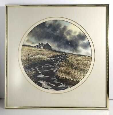 Rural Watercolor-  Framed and Matted- Stream and Storm w/ Old Barn-house