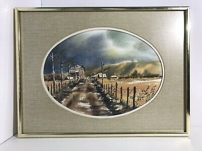 Rural Watercolor- Original- Framed and Matted-  Barn-Telephone Poles-Fence Line