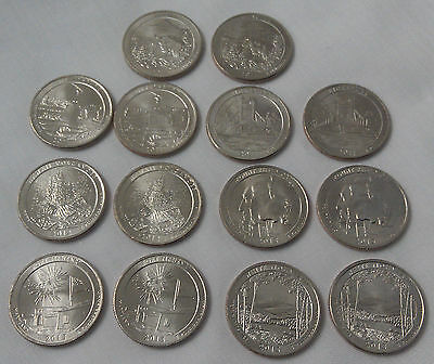 14 x UNCIRCULATED USA Commemorative American Quarters D & P coins see details