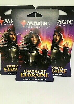 Lot of 3 MTG Magic The Gathering Throne Of Eldraine 15 Card Booster Packs Sealed