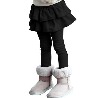 Girls Skirt Flouncing Tiered Soft Cotton Pure Color Leggings Pants Honey Gift