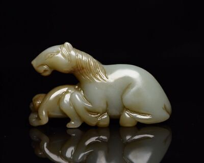 """2.9"""" Fine Old Chinese 100% Natural handcarved hetian jade Horse Monkey Statue"""