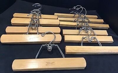 Lot of 11 Vintage Diplomat Setwell Unbranded Wooden Clamp Pant Skirt Hangers