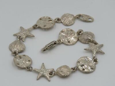 MW My Way Sterling Silver Nautical Sand Dollar Starfish Seashell Link Bracelet