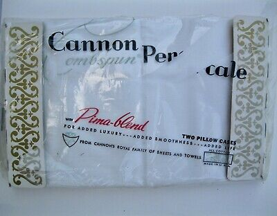 VTG Cannon Royal Family Cotton Percale Std Pillowcases NEW in Package USA MADE