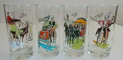 "VTG. ""GAY NINETIES"" TUMBLER/DRINKING GLASSES ANCHOR HOCKING ""STEAMPUNK"" 1950s"