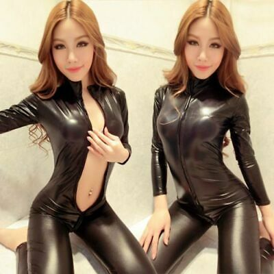 100% Latex Fashion Rubber Catsuit Overall Schwarz Zipper Gummi Tights Bodysuit
