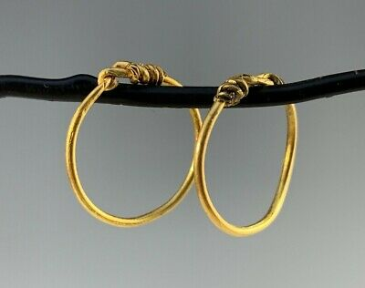 Ancient Roman Gold Hoop Earrings; Nice Size! Charming!