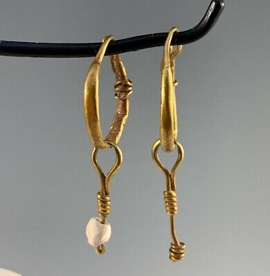 Ancient Roman Gold Decorated Hoop Earrings With Dangles; Nice Pair!
