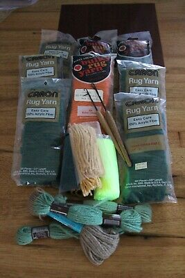 Vintage Rug Making Supplies Acrylic Pre Cut Red Heart Caron Green Latch Hooks