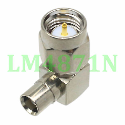 1pce Adapter 90° SMA plug male to MCX female jack connector right angle Nickel