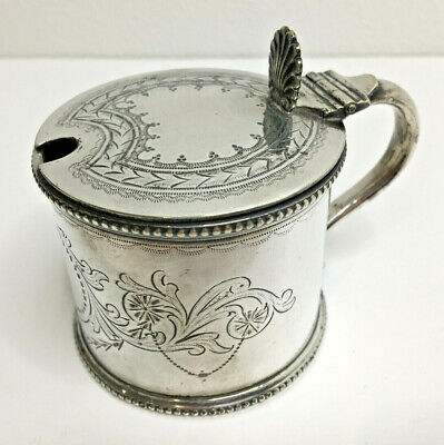 Antique Silver Plated Mappin & Webb Mustard Preserve Pot With Hinged Lid