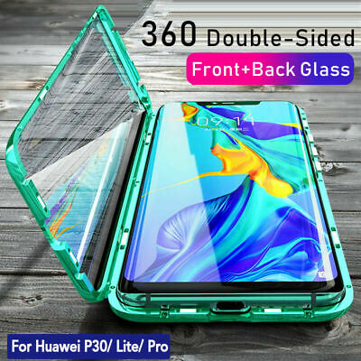 360° Magnetic Adsorption Double Side Glass Case for Huawei P30 Pro P20 Mate 20