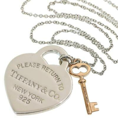 Return to Tiffany Heart Tag & Key Pendant Necklace Sterling Silver /Metal D5868