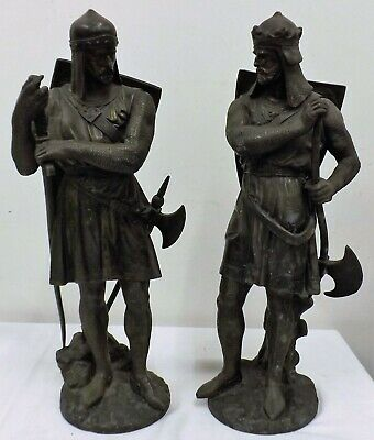 Pair of Jean Jules Salmson Spelter Figures of Medieval Knights - Signed