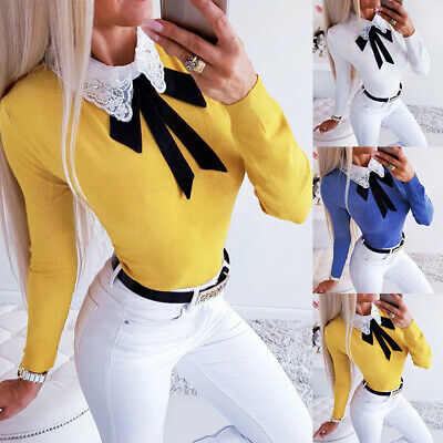 Womens Collared Long Sleeve Shirt Tops Ladies Bow Tie Casual Jumper Blouse 10-16