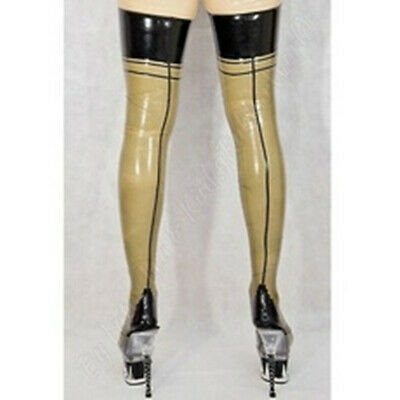 Hot Sale Latex Rubber Stocking Thigh-highs Transparent&Black Socks Fixed Size XL