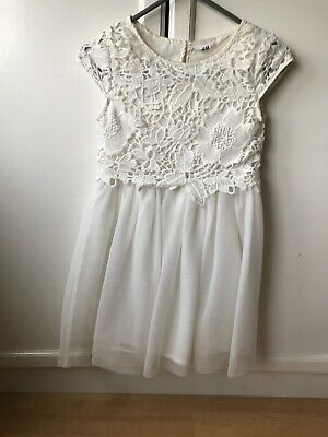 Girls White Dress H & M Party Dress Age 7-8 Christmas Outfit