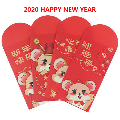 10pcs 2020 Chinese Cartoon Rat Red Envelope New Year Paper Money Red Packet.