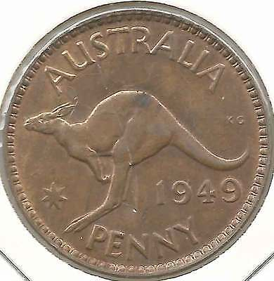 1949 KGVI AUSTRALIA 1d ONE PENNY Lovely patination much Lustre UNCIRCULATED rare