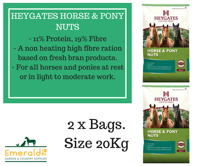 HEYGATES HORSE /& PONY NUTS 19/% HIGH FIBRE FEED NON HEATING 20KG *FREE P/&P*