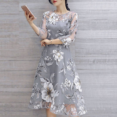 Women Summer Vintage Floral Print Wedding Party Ball Prom Gown Cocktail Sundress