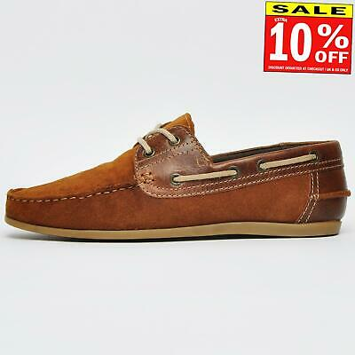 Red Tape Stratton Men's Suede Leather Designer Deck Boat Casual Shoes Tan