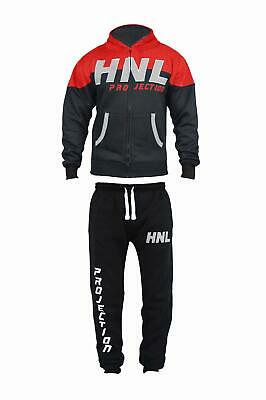 Kids HNL Contrast Tracksuit Colour Block Boys Hooded Joggers Bottoms Size