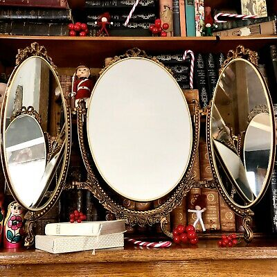 gold framed vintage 50s regency style dressing table mirror with tilting Mirror