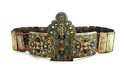 Antique Greek Balkan Gild Silver Enamel Belt Buckle With Gems 19C.