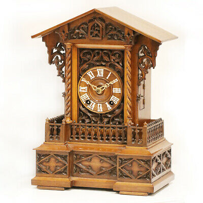 • Antique Black Forest, Phillip Haas & Sohne Mantle Cuckoo Clock, Circa 1880 •