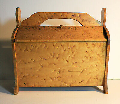 Antiquec 1920's BIRD'S EYE MAPLE SEWING CHEST Wood Cabinet Box Knitting