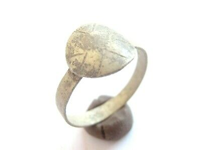 Late ROMAN PERIOD Early Christian SILVER Ring with *CROSS*  on bezel engraved