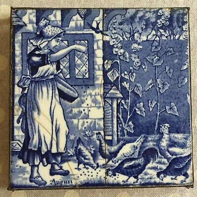 """BLUE/WHITE VICTORIAN TILE LADY & CHICKENS WITH PEWTER TRIVET - 6"""" x 6"""" - Ref:18"""