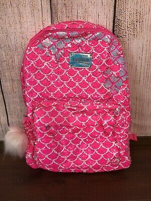 "New Justice Mermaid Sequin Initial /""E/"" Backpack with Pom Pom"