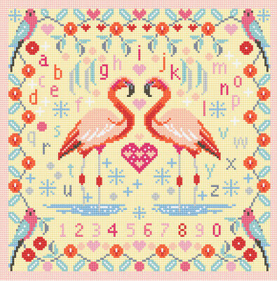 NEEDLEPOINT Tapestry Cross Stitch KIT Riverdrift House FLAMINGOS